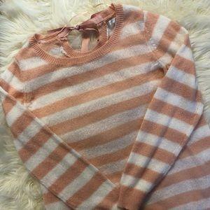 Lauren Conrad Peach and Cream Striped Sweater